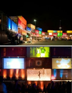 using shipping containers to create the setting/staging