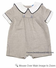Easter Outfit  Frankie by Luli & Me Baby Boys Flax Linen Blend Bubble Suit - Navy Blue Trim