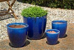Campania International 6256-1904 Lundi Planter, Riviera Blue Finish