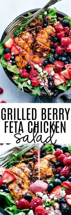 Grilled Berry Feta Chicken Salad is loaded with fresh summer berries, bacon chipotle seasoned grilled chicken and topped with a sweet chipotle dressing! You will be craving this mouthwatering salad all summer long! Minus the feta! Healthy Recipes, Healthy Salads, Salad Recipes, Healthy Eating, Cooking Recipes, Coctails Recipes, Keto Recipes, Clean Eating, Bacon Recipes
