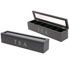 Tea Box Wooden Rectangular Transparent 6 Compartments