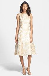 Adrianna Papell Jacquard Tea Length Fit & Flare Dress