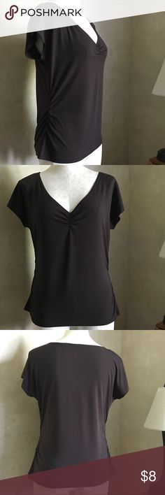 """Axcess Liz Claiborne Ruched Top Wear to Work Fantastic career top - great alone or layered under a blazer!   95% polyester, 5% spandex   27"""" shoulder to hem, 23"""" across chest Axcess Tops"""