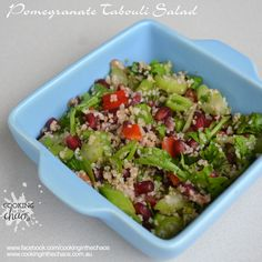 This is a loose variation on a traditional tabouli recipe. The addition of pomegranate gives it really fresh twist. Tabouli Recipe, Greek Yoghurt, Green Peas, Pomegranate, Celery, Guacamole, Mint, Herbs, Salad