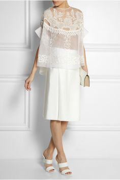 Biyan | Solana embroidered silk-blend organza top, Lanvin ring and skirt, Alexander Wang shoes, Nina Ricci clutch
