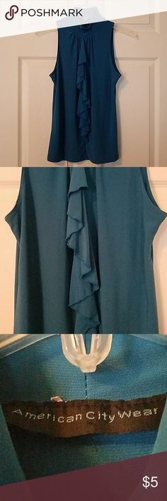 High Neck Ruffled Front Teal Blue Blouse High Neck Ruffled Front Teal Blue Blouse.  Size Medium Tops Blouses