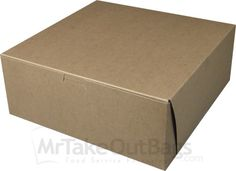 """Share MrTakeOutBags.com with your friends and get a $2.00 off your order! 10 x 10 x 4"""" 100% Recycled  Brown Kraft Cupcake Boxes"""