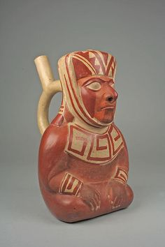 Stirrup spout bottle with dignitary figure 3rd-5th century Peru Moche