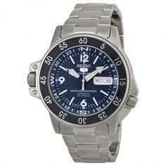 Seiko 5 Dark Blue Dial Stainless Steel Compass Automatic Men's Watch SKZ209J1