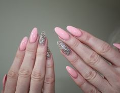 Pink/glitter stiletto nails