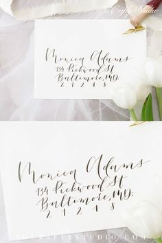 Calligraphy for wedding envelopes / wedding invitations / Envelopes addressing / Wedding calligraphy / Modern script Addressing Wedding Invitations, Wedding Envelopes, Addressing Envelopes, Card Envelopes, Hand Lettering Envelopes, Calligraphy Envelope, Wedding Calligraphy, Modern Calligraphy, Return Address Stickers