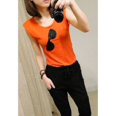 $4.48 Fashionable Style Slimming Glasses Printed Sequin Embellished Shoulder Pad Design Sleeveless T-Shirt For Women
