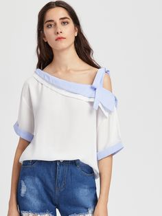 Shop Asymmetrical Cold Shoulder Contrast Pinstripe Cuffed Top online. SheIn offers Asymmetrical Cold Shoulder Contrast Pinstripe Cuffed Top & more to fit your fashionable needs.