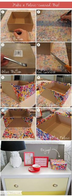Make a Fabric-covered Box. Great for all those left over birchboxes!-----USE THE REST OF THE BURLAP FOR SOCK DRAWER