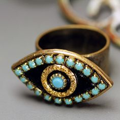 Evil Eye Pendant Ring