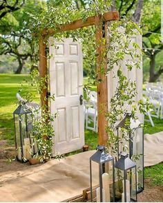 Gorgeous Wedding Arch Inspiration Lanterns and green plants . - Bild + Gorgeous Wedding Arch Inspiration Lanterns and green plants . Wedding Ceremony Arch, Outdoor Ceremony, Wedding Venues, Outdoor Wedding Doors, Old Doors Wedding, Wedding Ceremonies, Ceremony Backdrop, Arch For Wedding, Wedding Archways