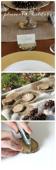DIY wood chip place card holders