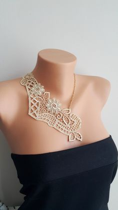 Nude Gold Wedding Necklace/ Lace Necklace/ Silver/ Gold Necklace/ Arc Necklace/ Flower Necklace/ Wedding Necklace/ Gift For Her bridesmaid necklace lace bridal necklace steampunk necklace bridal applique Fashion Necklace contemporary lace designer necklace flower necklace gift for her silver lace necklace wedding jewelry nude lace necklace gold lace necklace 20.00 USD #goriani