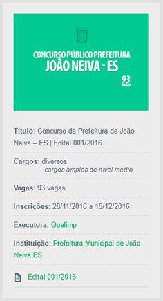 Será realizado Concurso da Prefeitura de João Neiva, para provimento de mais de 90 vagas do quadro efetivo de servidores.