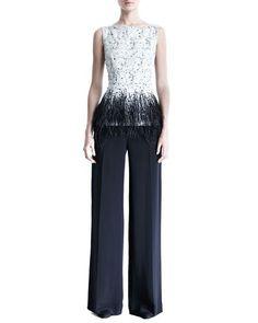 -401S Carolina Herrera  Silk Crepe Wide-Leg Trousers