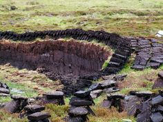 Individual peats cut from the peat-bog. The dried peat blocks are used as fuel on open fires.