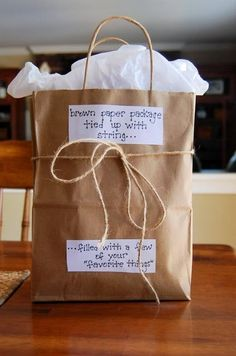 Brown paper package, tied up with string, filled with a few of your favorite things!) Brown paper package, tied up with string, filled with a few of your favorite things! Easy Teacher Gifts, Teacher Appreciation Gifts, Teacher Gift Baskets, Teacher Birthday Gifts, Handmade Teacher Gifts, Basket Gift, Valentine Gifts For Teachers, Sister Birthday Gift, Gift Ideas For Teachers
