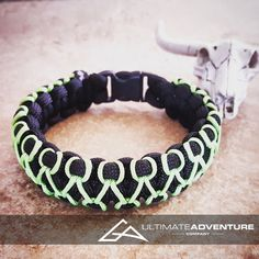 Black Paracord Bracelet with Neon Green Thread, Hunting Fashion, Fathers Day Gift, Mens Bracelet, EDC, EDC Bracelet, Wanderlust Accessories