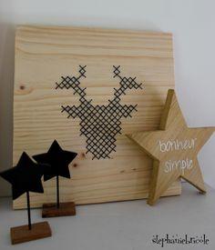 DIY deco scandinave - un cadre renne point de croix XXL - Stéphanie bricole