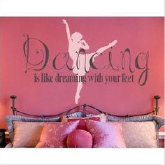 Shop dance and ballet-themed wall decor for a girls themed bedroom! Canvas wall art, dancer wall decals, and ballet theme decorating ideas for little girls Ballet Room, Ballerina Room, Ballet Dance, Dance Recital, Dance Art, Ballet Nursery, Ballroom Dance, Girl Nursery, Bedroom Themes