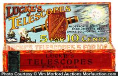 Large wooden store display cigar box for Lucke's Telescopes brand, featuring beautiful inside color graphic label (Series 1898 tax stamp). Sold at: Wm Morford Antiques Looking to Buy or Sell? Buy Cigars, Good Cigars, Wooden Cigar Boxes, Tobacco Basket, Best Stocks, Price Guide, Store Displays, Tin Boxes, Advertising
