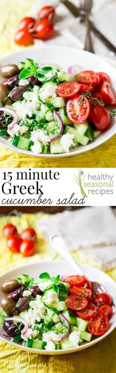Blog post at Healthy Seasonal Recipes : Easy-as-can-be 15 minute Greek cucumber salad with feta, olives and cherry tomatoes. This is totally my cup of tea, and I want to tell you w[..]
