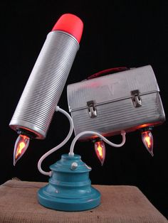 Upcycled Thermos Vintage Lunchbox Lamp by BenclifDesigns on Etsy