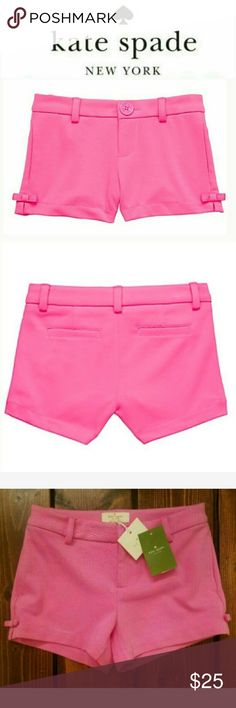 Kate Spade 'Jackie' Shorts- NWT Size 8. New with tags.  Dainty bows detail the vented hems of cute shorts cut from a stretchy, cotton-ponte knit. Part of kate spade new york's debut childrenswear collection, each piece brings the brand's playful spirit and girly flair to the pintsize fashion set.  - Front zip with hook-and-bar closure. - Side-seam pockets; faux back pockets. - 98% cotton, 2% spandex. - Machine wash cold, tumble dry low. kate spade Bottoms Shorts