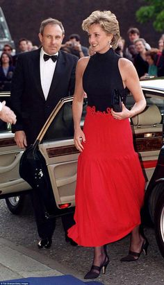 Another piece going on display is the stunning Catherine Walker black and red evening gown Diana wore to a Pavarotti concert at the Royal Albert Hall in 1995