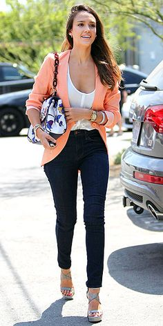 High-waisted skinny jeans, FindersKeepers blazer, Rails top, Tory Burch bag (aug 2012)
