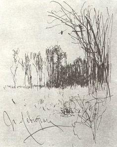 Картинки природы тушью и карандашом