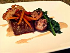 It's dinner time folks. This was on my plate. What was on yours? I hope you like. ;)  Dish:Petite Fillet With Mushroom Wine Sauce topped with Sweet Peppers and Sauteed Spinach  #ChefDadisiCreation #GourmetComfortFood #EatGoodLiveGREAT  #TeamAllThingsCulinary