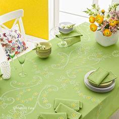 cotone disegnato per tovaglia da 12 con motivo fiori da ricamare a punti vari