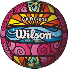 The Wilson Graffiti Volleyball features a fun, colorful graphic design and a solid construction for outdoor play. Synthetic leather cover with an machine-sewn construction is durable and soft to the touch. Butyl rubber bladder retains air and opt Volleyball Equipment, Volleyball Workouts, Volleyball Gifts, Coaching Volleyball, Beach Volleyball, Girls Basketball, Girls Softball, Volleyball Players, Volleyball Hair