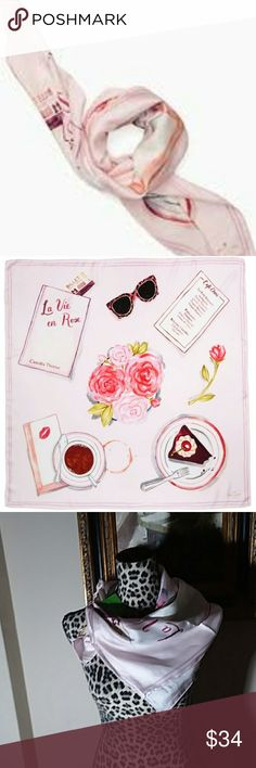 "Kate Spade Cafe Scene Rose Dew Silk Scarf This is the Kate Spade Cafe Scene silk scarf in Rose Dew. Pure silk square scarf for the perfect warm-weather pick 34""W x 34""L Silk Hand wash Imported.  Scarf is new with all tags and never worn. kate spade Accessories Scarves & Wraps"