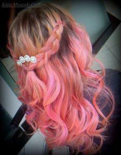 Cabelo rosa/rosa claro - Ondulado - trança