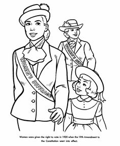 USA-Printables: Women's Suffrage coloring sheet - American History
