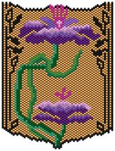 Nouveau Flowers Pattern.  Graph provided in color code mode with list of Delicas needed, thumbnail.  12 colors  Project Type: Bead Stitch: brick or peyote Beads Used: Delicas
