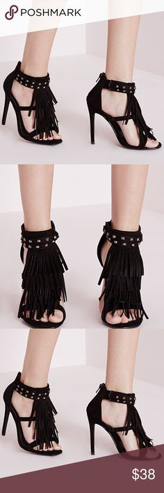 """Closing closet today reduced from $38 ‼️ reduced from $38 ‼️MISSGUIDED KHAKI GREEN  TASSEL HEELS. NOT BLACK. NEW IN BOX. 4.5"""" heel. Missguided Shoes Heels"""