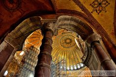 The dome of Hagia Sophia is the most striking element in the structure. The first dome built by Anthemius & Isidorus. Historic Architecture, Hagia Sophia, Byzantine, Mosque, Istanbul, Cathedral, Restoration, Stone, Monuments