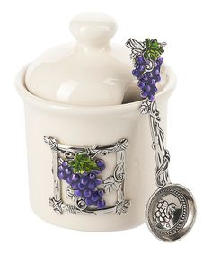 Look at this #zulilyfind! Grape Jar & Spoon Set by GANZ #zulilyfinds
