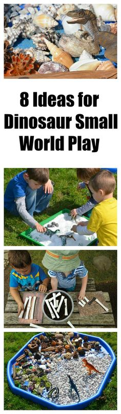 Lot of fun ways to play with dinosaurs with plenty of sensory experiences too… Dinosaur Activities, Time Activities, Toddler Activities, Dinosaur Small World, Small World Play, Toddler Preschool, Preschool Crafts, Dino Craft, Discovery Play
