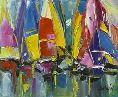 """""""Modern Spinnakers"""" Oil painting on canvas created with a palette knife by French artist Duaiv. - Park West Gallery"""