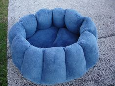 Cat bed or dog bed, 16 inch in a Cadet blue microplush fabric that is machine washable. $24.00, via Etsy.