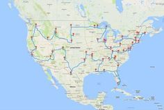 Road trip route for most beautiful place in every state